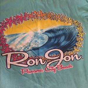 Ron Jon turquoise surf shop T-shirt Sz S